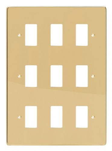 Varilight XDVPG9 PowerGrid Polished Brass 9-Gang Grid Plate (Triple Twin Plate)
